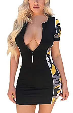 Monika Verano Mujeres Sexy Cuello V Manga Corta Mini Vestido con Cremallera Moda Camuflaje Costura Vestido Apretado Paquete de Cadera Vestidos de Partido Cóctel Fiesta