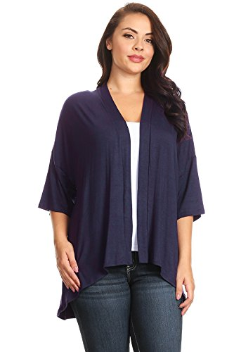 Modern Kiwi Plus Size Solid 3/4 Sleeve Open Front Cardigan Navy 2X