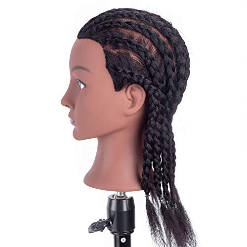 HAIREALM Afro Mannequin Head 100% Human Hair Cosmetology Manikin Head Doll Head for Hair styling Braiding (Table Clamp Stand Included) DK0212D