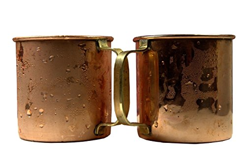 A29 Moscow Mule 100% Solid Pure Copper Mug/Cup (16-Ounce/Set of 4, Hammered) with 1 Copper Shot Glass and 4 Copper Straws