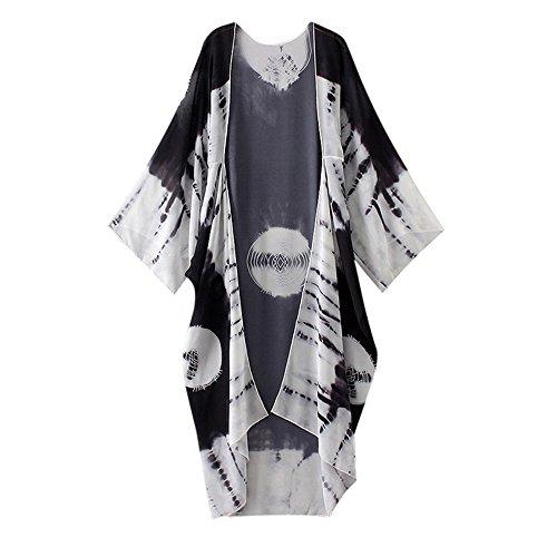 Han Shi Blouse, Women Print Chiffon Loose Shawl Long Kimono Cardigan Cover up Shirt (L, Black)