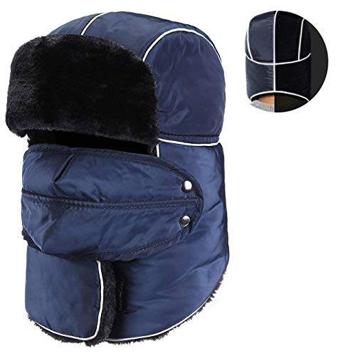 Mens Reflective Winter Hunter Hat Ushanka Snowboarding Hat with Ear Flap Face Mask Navy