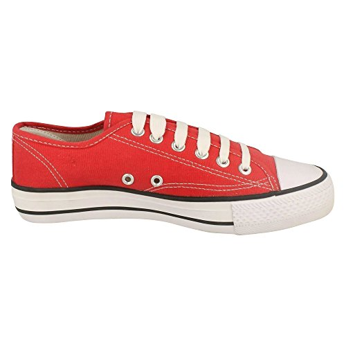 Lace up On Cut Low Spot Canvas Shoes Ladies Womens Red UxTw0UdcYq
