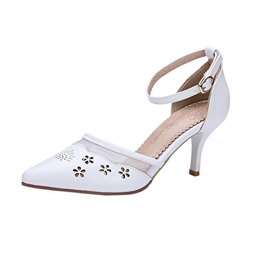 Carolbar Womens Ankle Strap Buckle Sweet Elegance Pointed Toe Voile Mesh Pierced High Stiletto Heel Dress Sandals White rXsRpD6VDi
