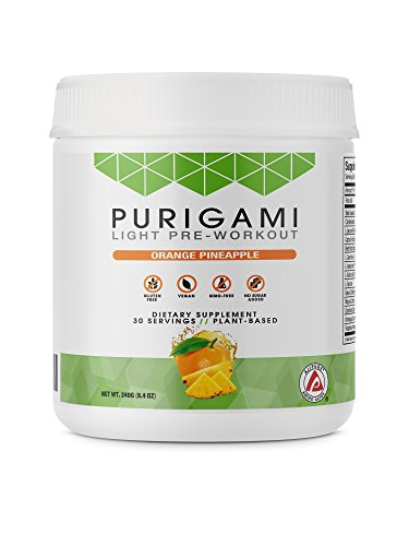 Purigami Natural Light Pre-Workout Powder, Orange Pineapple Flavor and Energy Boosting Supplement - Fat Burner, Vegan, Non-GMO & Gluten Free to Improve Workouts and Fitness - 30 Servings