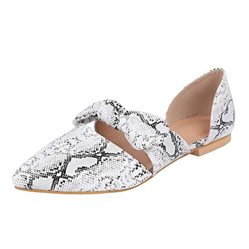 (FISACE Womens Snake Retro Mules Knot Bow Flat Sandals Pointed Toe Slip On Low Heel Dress)