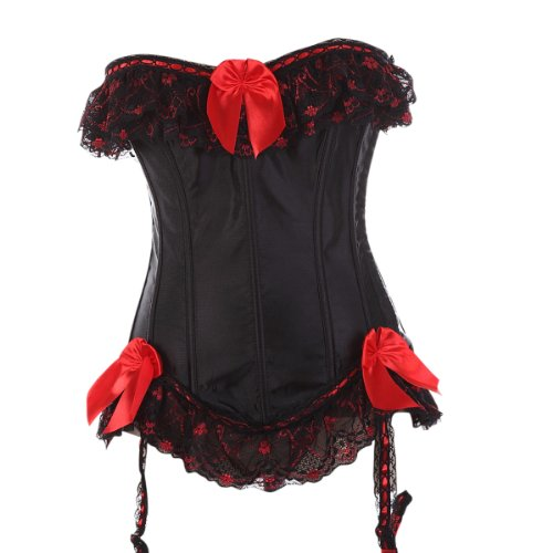 Black 079 Satin Red Lace Ruffle Corset Ribbon Bustier Showgirl TOP X-large (Sexy Corset Costumes)