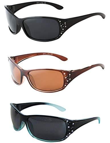 Polarized Sunglasses for Women - Premium Fashion Sunglasses - HZ Series Elettra Womens Designer Sunglasses (3 Pack - Midnight Black, Honey Amber, Black & Blue, Dark Smoke & ()