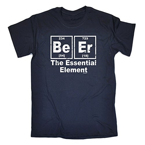 123t Slogans Men's BEER ESSENTIAL ELEMENT (L - NAVY) LOOSE FIT - Beer Table Periodic
