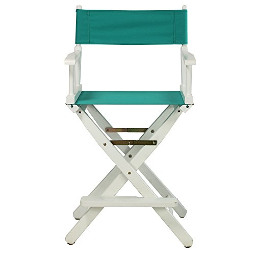 Casual-Home-24-Inch-Director-Chair-White-Frame-Teal-Canvas