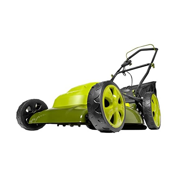 Sun Joe MJ408E 20-Inch 12-Amp Electric Lawn Mower + Mulcher, w/Side Discharge Chute 1 Maintenance free - No gas, oil or tune-ups Detachable grass catcher for easy disposal; Grass collection bag capacity: 14. 5 gal Best use: small to mid-sized lawns