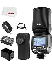 Godox V1 V1S V1-S Flash, 1.5 sec Recycle Time,1/8000 HSS, 480 Full Power Shots, Interchangeable 2600mAh Lithimu Battery for Sony Camera