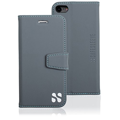 Anti Radiation RFID iPhone Case: iPhone 6, iPhone 7 and iPhone 8 ELF & RF Blocking Identity Theft Protection Wallet (Grey)