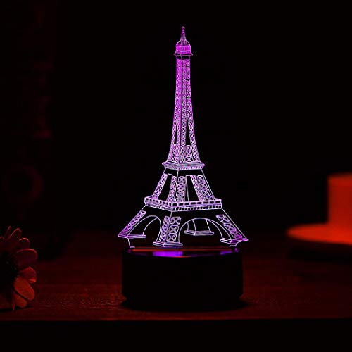 (DICPOLIA Smart Home Eiffel Tower 3D LED Night Light, Touch Table Desk Optical Illusion Lamps, 7 Color Changing Lights with Acrylic Flat & ABS Base & USB Charger (Clear))