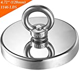 Wukong 1146LBS Pulling Force(520KG) Magnetic Grade N52 Round Neodymium Magnet with Eyebolt and Countersunk Hole Diameter 4.72INCH(120mm) Great for Magnetic Fishing-The Largest Magnet On Amazon