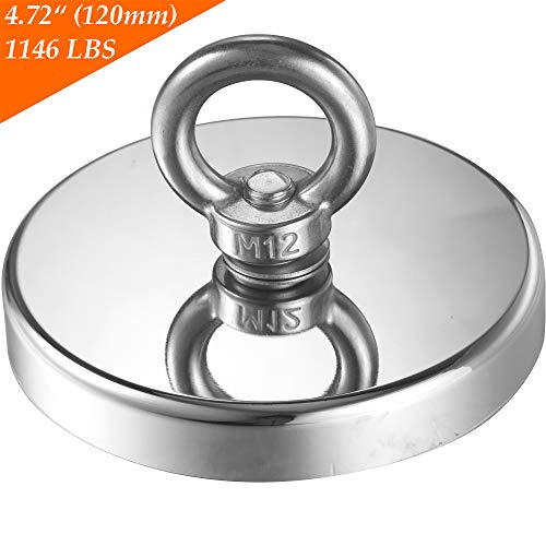 Wukong 1146LBS Pulling Force(520KG) Magnetic Grade N52 Round Neodymium Magnet with Eyebolt and Countersunk Hole Diameter 4.72INCH(120mm) Great for Magnetic Fishing-The Largest Magnet On Amazon.