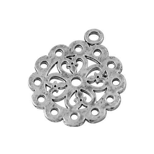 Paquet 10 x Argent Antique Tibétain 26mm Breloques Pendentif (Fleur) - (ZX16315) - Charming Beads