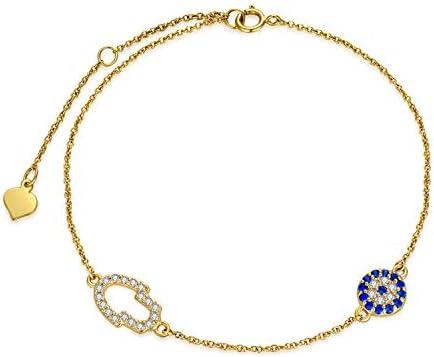 Yellow gold horizontal hamsa bracelet Hamsa charm bracelet Anniversary gift.