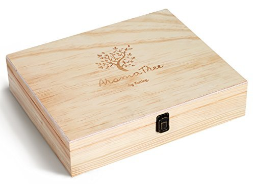 Aromatree Essential Oil Carrying Case - Large Wooden Box Storage Organizer 68 Slots - Holds 56x 5/10/15ml Bottles, 12x 10ml Rollers - Aromatherapy Oils Travel Display Presentation Case + Starter Pack