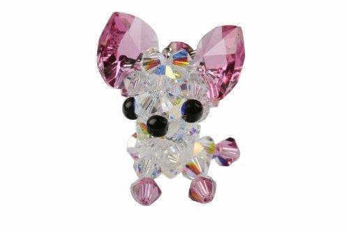 (Swarovski Crystal Cell Phone Charm-Chihuahua Big Ear-Pink)