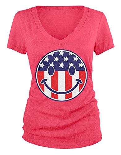 Flag Smiley Face, American Flag Smile V-Neck T-Shirt, Azalea XL ()
