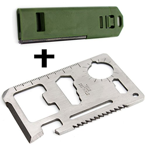RAN-SHA Credit Card Survival Tool Knife, Fire Starter and Whistle