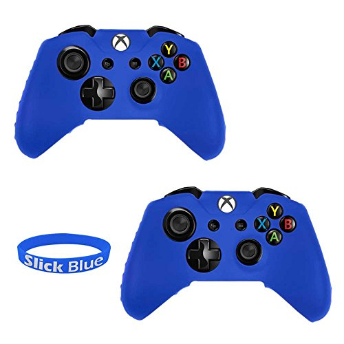 SlickBlue 2 Pack Soft Flexible Silicone Gel Rubber Grip Protective Case Cover For Xbox-One Game Controller - Blue [Xbox One]