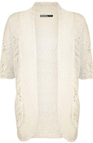 Open maniche Taglie maglia nbsp; Size Ladies Donna Coprispalle corte Crochet Plus 8 a Cardigan Top RqXw7