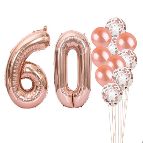60th Birthday Decorations Party Supplies,60th Birthday Balloons Rose Gold,Number 60 Mylar Balloon,Latex Balloon Decoration,Great Sweet 60th Birthday Gifts for Girls,Photo Props]()