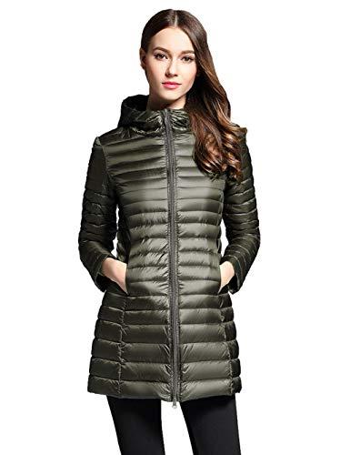 Sunseen Women's Lightweight Thin Hooded Packable Slim Outdoor Sports Travel Insulated Parka Outerwear Puffer Jacket Down Coat (Women Winter Down Hooded Coats)
