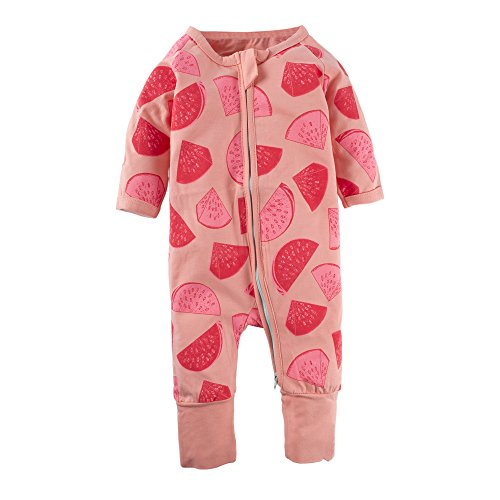 BIG ELEPHANT Baby Girls'1 Piece Long Sleeve Sleepwear Watermelon Print Zipper Romper Watermelon L99-66 0-3 Months