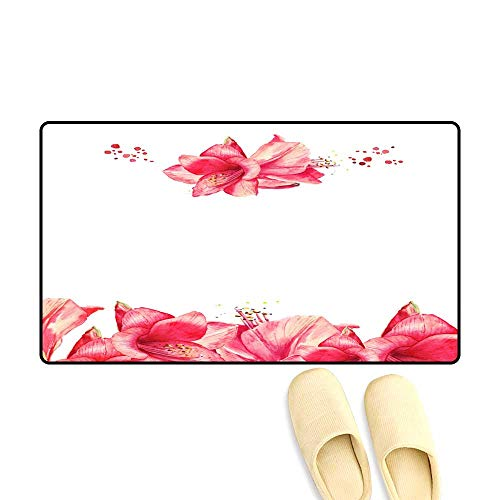 Customize Door mats for Home Mat Greeting Floral car wi re Amaryllis Watercolor Lily Flowers