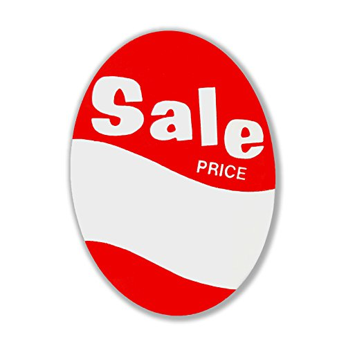 Large Red Tag Sign - 1000 Large Red & White Oval Shaped Sale Price Tag - 3
