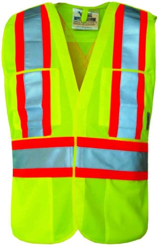 Vest Tear Away Safety (5 Point Tear Away Safety Vest - Fluorescent Green Polyester (Small/Medium))