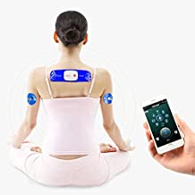 Wireless Electronic Pulse Massager Bluetooth APP Control Abdominal Muscle Stimulator Toner 8 Modes Rechargeable Tens Unit Pain Relief Therapy Machine iPhone & Android Compatible