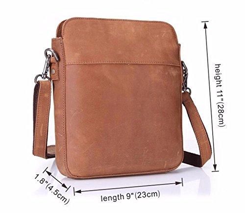de bolso hombro estilo pequeño de Light de solo los estilo fresco bolso de cuero pulgadas Retro hombres 11 vertical Surnoy Brown ftXx77