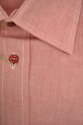 Marco Bracci Camicia Uomo Rosso Corallo Filafil Collo Francese