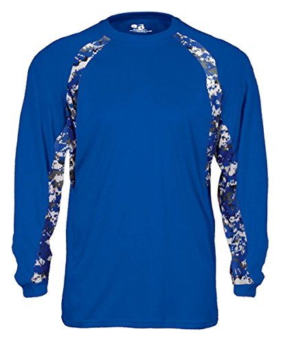 - Badger Digital Hook Long Sleeve Performance T-Shirt, 4XL, Royal/Royal Digital