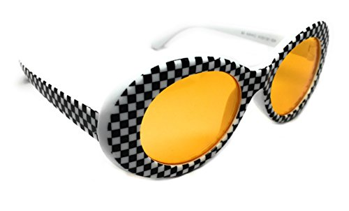 WebDeals - Oval Round Retro Sunglasses Color Tint or Smoke Lenses Clout Goggles (Checkerboard, Yellow) (Yellow Checkerboard)