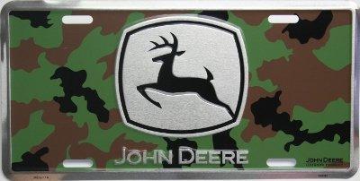 John Deere License Plate Tag Camo Camoflage Hunt Dear Farm Tractor Logo
