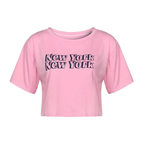 York Pink T-shirt New Womens (WM & MW New York T-Shirt,Women Girls Crop Tops Short Sleeve Letter Printed Casual Short Tees Shirt (Small, Pink))