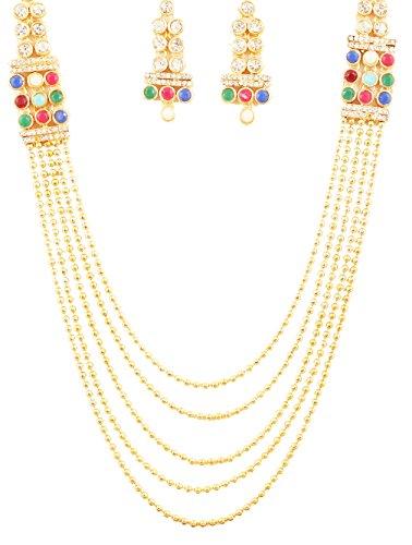 n Bollywood Desire Rajwada Art Style Multi Color Studded Jewelry Jadau Nav Ratan Five Lada Saree Wear Grand Bridal Designer Jewelry Necklace Set In Gold Tone For Women. ()