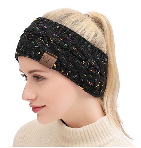 Heyuni.1PC Knit Fuzzy Lined Head Wrap Headband Ear Warmer,Black