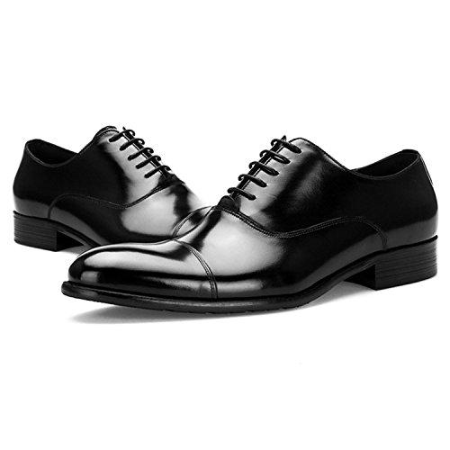 Odema Mens Klassiska Spetsiga Tå Vingspets Premium Läder Oxfords Smoking Snörning Klänning Oxfords Skor Svarta