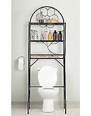 J&V TEXTILES 3-Shelf Bathroom Organizer Over The Toilet, Bathroom Spacesaver (Black)