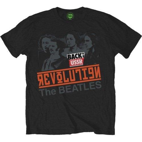 The Beatles Men's Revolution Back In The Ussr Short Sleeve T-shirt, Black, ()