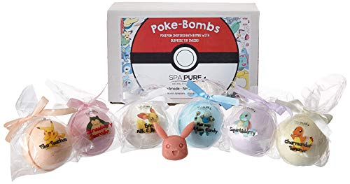 Bath Bombs For Kids With Surprise Toys Inside (POKEMON) USA made, Natural, Organic XL 5 oz Gift Set For -