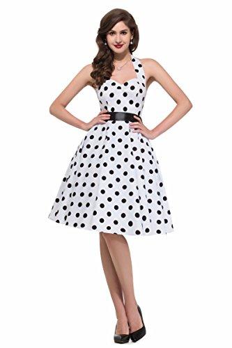 Women Vintage Dresses White Polka Dots Rockabilly Wiggle Dress (S)