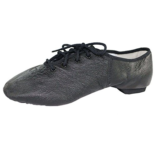 Danzcue Womens Leather Lace up Jazz Shoes Black 8tbAa7abd
