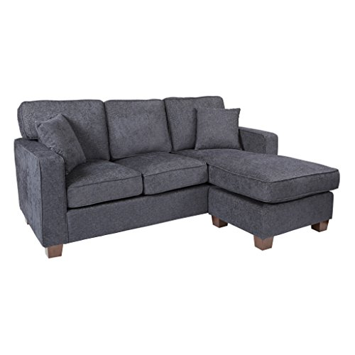 Avenue Six AVE SIX Russell Sectional Sofa with 2 Pillows and Coffee Finished Legs, Navy Fabric For Sale